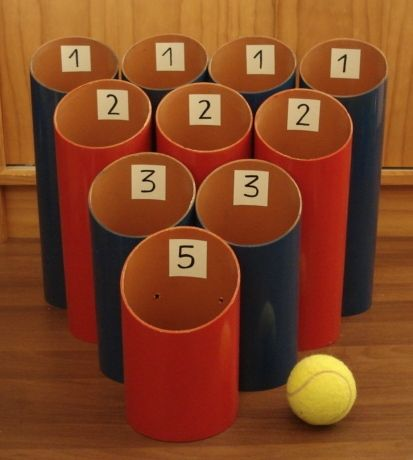 DIY Pipe Ball. Fun game for kids to play. Would be great for reviewing math facts!