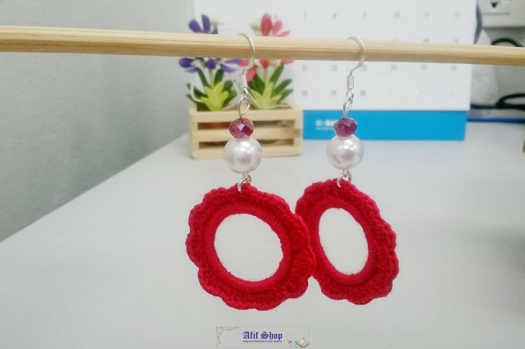 SUPER SALE /Red Crochet Earrings /Bead crochet earrings /Christmas Earrings /Pierced Earrings /Dangle earrings /Gift for her by AfifShop on Etsy