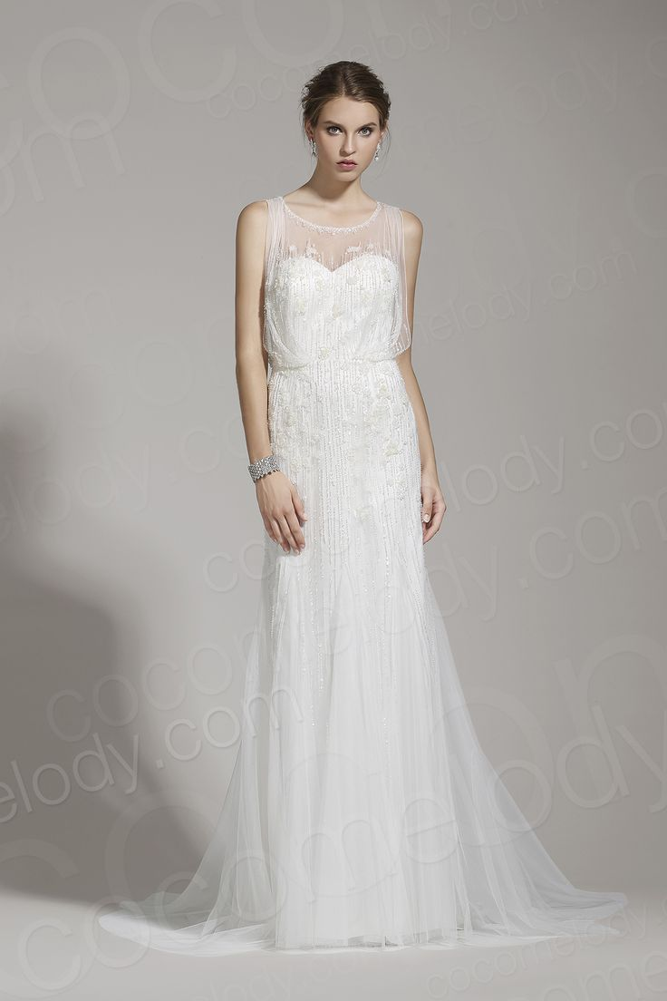 Delicate Sheath-Column Jewel Tulle Ivory Sleeveless Wedding Dress with Beading AWZT15001