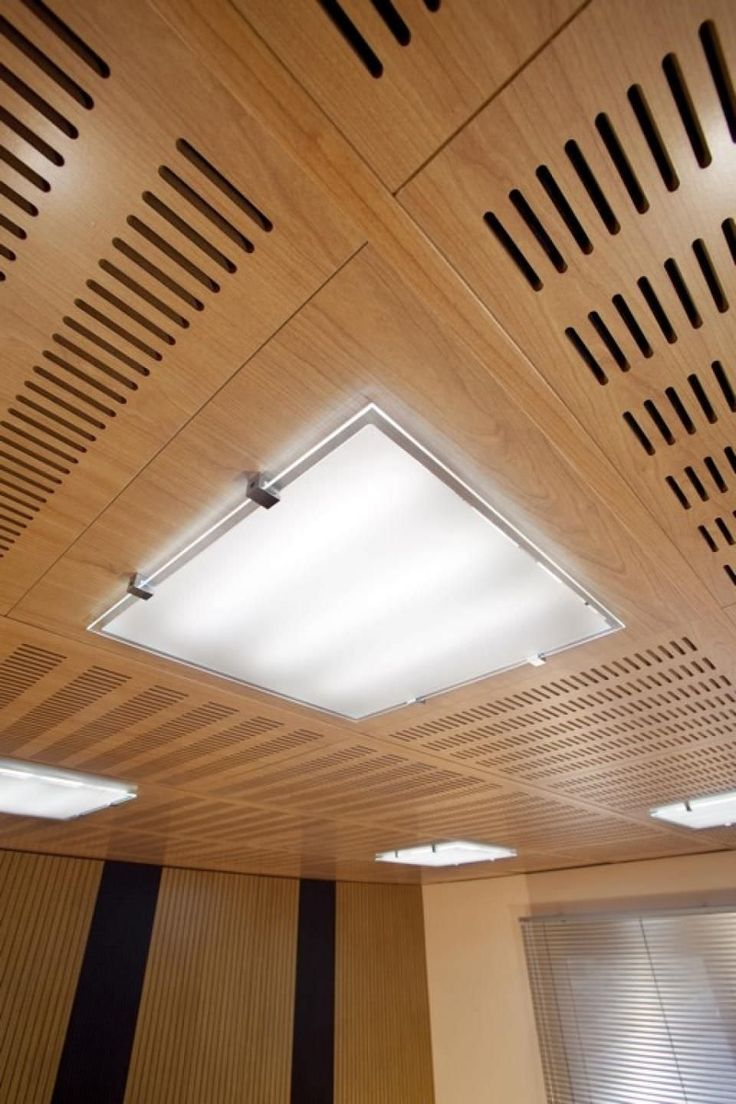 Kirei echopanel geometric tiles building for health - Acoustic Suspended Ceiling In Wood Tile Perforated Idealed Ideatec