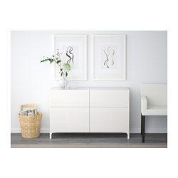BESTÅ Combi rgt portes/tiroirs - blanc/Selsviken brillant/blanc, glissière tiroir, fermeture silence - IKEA