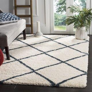 Safavieh Hudson Ivory / Slate Blue Shag Rug (8' x 10') - Free Shipping Today - Overstock.com - 21183668 - Mobile