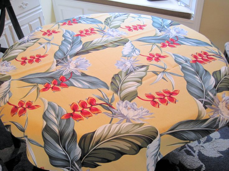 Excited to share the latest addition to my #etsy shop: Hawaiian Barkcloth Tablecloth, Hawaii Floral Motif, Bold Colors Cotton, NOS