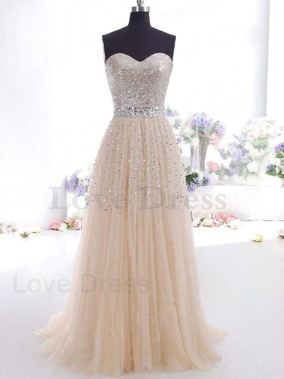 Gorgeous A-line Sweetheart Tulle Prom Dress, Sequin Prom Dress, Wedding Dress,Sequin Wedding Dresses on Etsy, $258.99