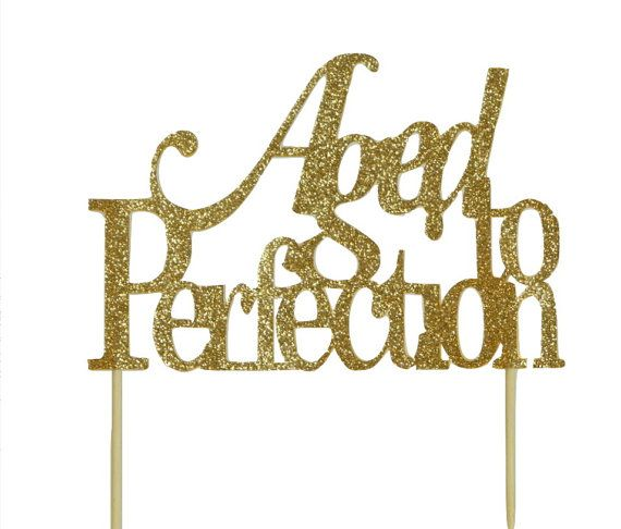 Gold Aged-to-perfection Cake Topper 1pc by AADetails on Etsy
