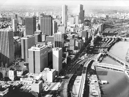 Aerial shot of Melbourne 1979. VicRoads Centenary 1913-2013.