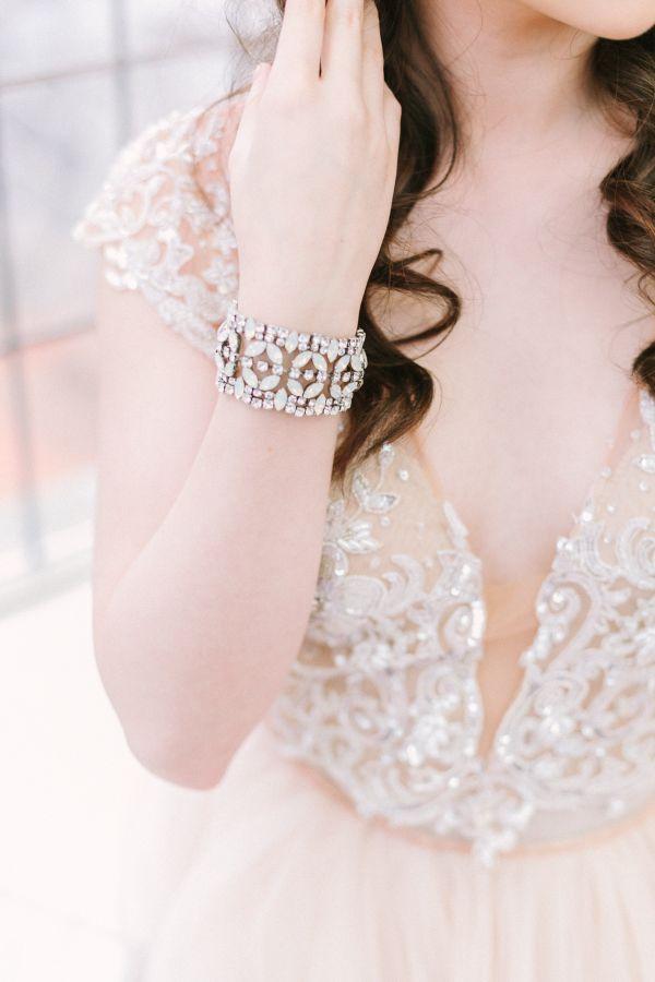Ivory beaded illusion neck wedding dress: http://www.stylemepretty.com/canada-weddings/british-columbia/vancouver/2016/08/03/mint-cream-mustard-wedding-color-palette/ | Photography: Kim James Photography - http://kim-james.com/