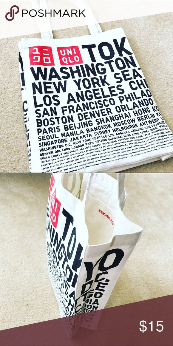 """NWOT Uniqlo Tote Bag NWOT Uniqlo canvas tote bag. Measures approximately 13""""x15.5"""". Depth is 4.25"""". Uniqlo Bags"""