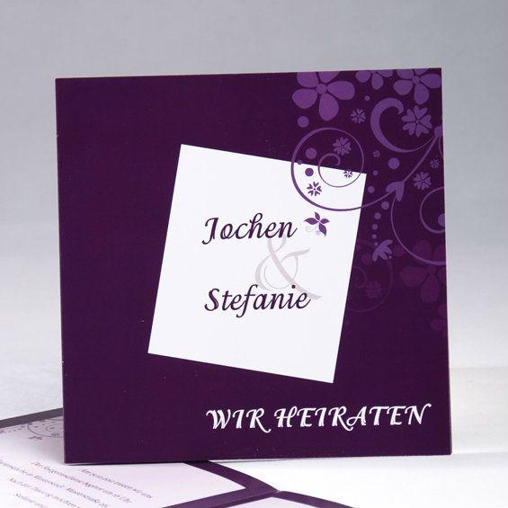 Ein Küsschen auf die Reise  Elegant Violett Edel Einladungskarten