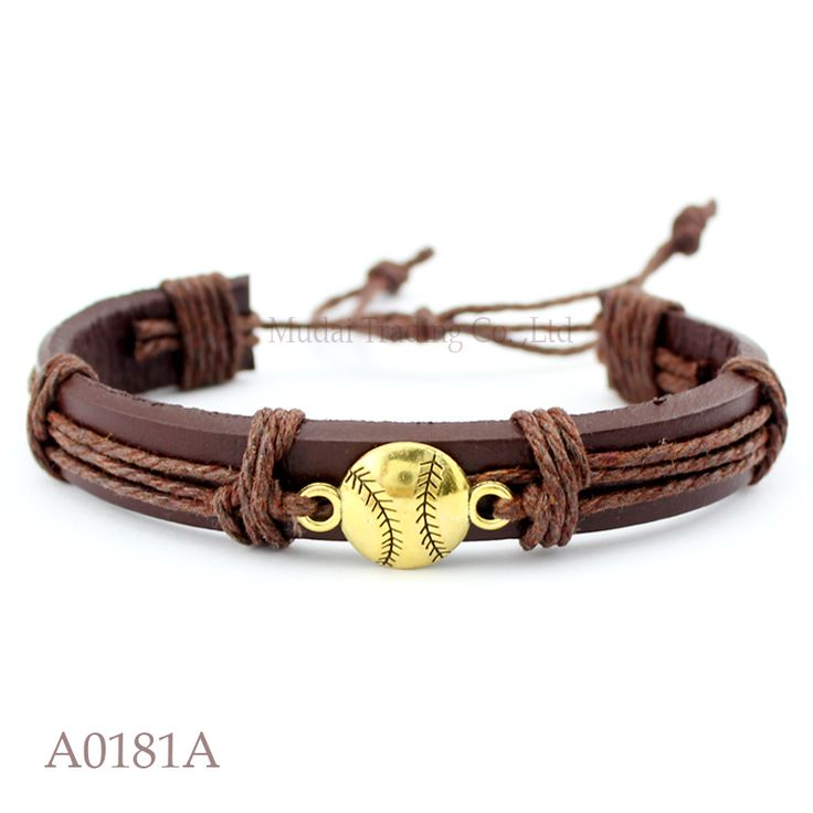 (10PCS/lot) ANTIQUE GOLD BASEBALL CHARM Adjustable Leather Cuff Bracelet for Men & Women Friendship Punk Casual Jewelry