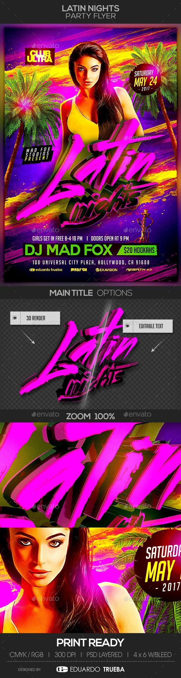 Latin Nights #Party #Flyer - Clubs & Parties Events Download here: https://graphicriver.net/item/latin-nights-party-flyer/19541841?ref=alena994