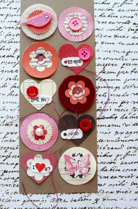 embellishments made with felt, beautiful patterned papers, vintage book and found paper, pretty shimmery cardstock, buttons, sequins, rhinestone, pearl and miniature tags with handwritten love messages .