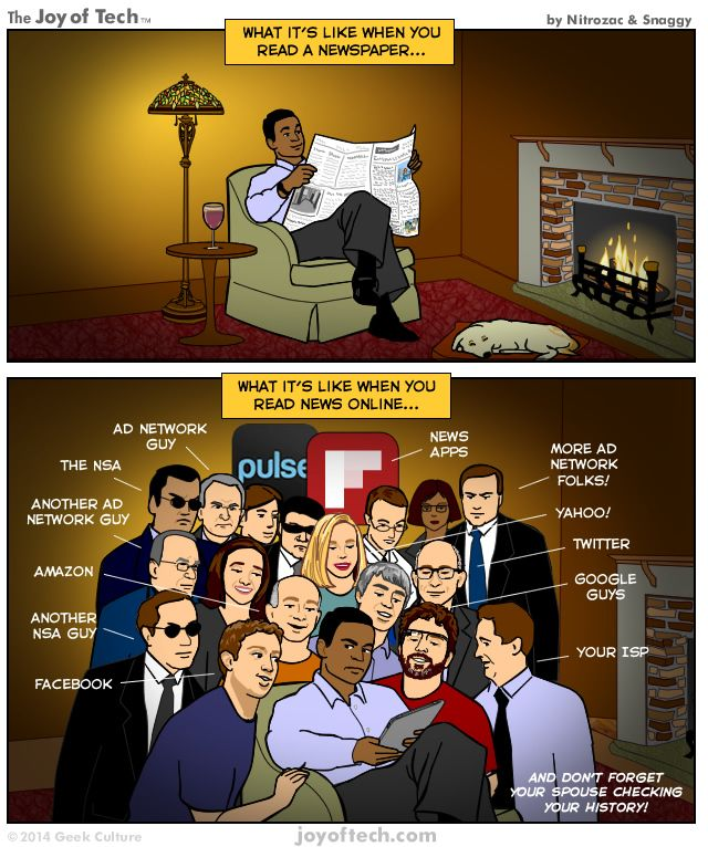 Reading the news; then and now
