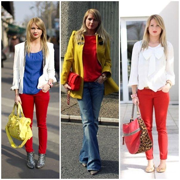 las modelos con prendas de colores primarios