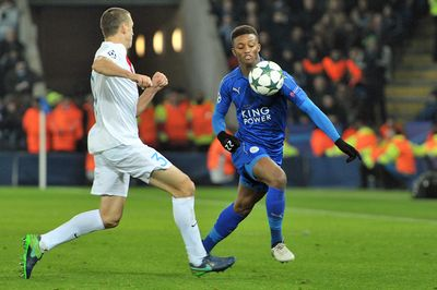 Timmy Simons and Demarai Gray, Leicester City vs Club Brugge,   Copyright B&O Press Photo.