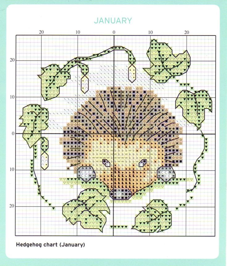 Cross stitch pattern, hedgehog.