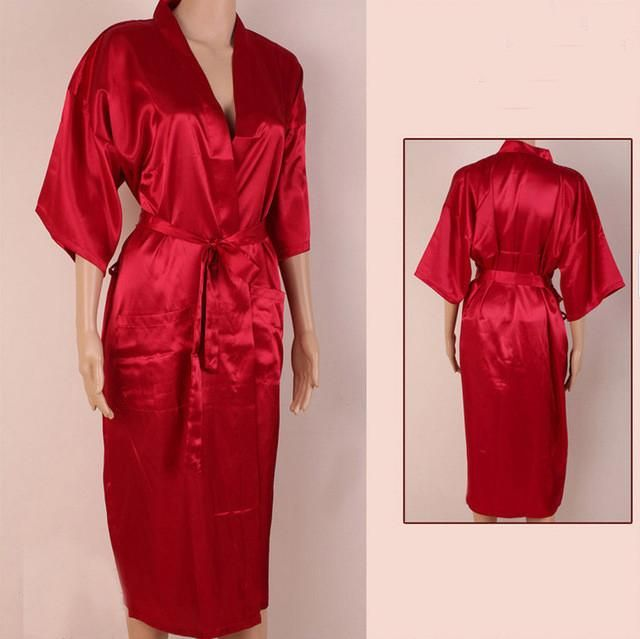 3377286bf8 Unisex Bathrobe Robe Solid Faux Silk V-Neck Regular Kimono Gown Rayon  Nightgown Sleepwear Red S
