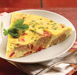 Roasted Pepper & Asiago Chicken Sausage Frittata. I think I'd make this with Bob Evans breakfast sausage.