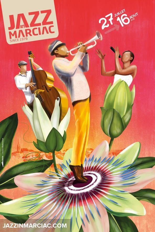 L'affiche du 38è festival Jazz in Marciac : Du Lundi 27 juillet au Dimanche 16 août 2015 Intéressante cette allusion à la passion. Les musiciens qui semble