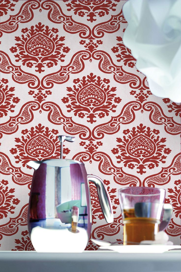 empapelado medalln rojo papel de parede