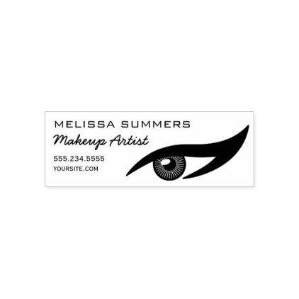Modern Elegant Makeup Artist Eye Eyeliner Address Self-inking Stamp - salon gifts style unique ideas