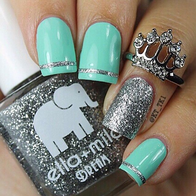 Best 25 pretty nail designs ideas on pinterest pretty nails mint silver glitter nails love the crown ring prinsesfo Images