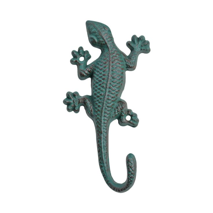 Cast Iron Coat Hook Verdigris Wall Mountable Gecko Lizard Garden Home Accessory