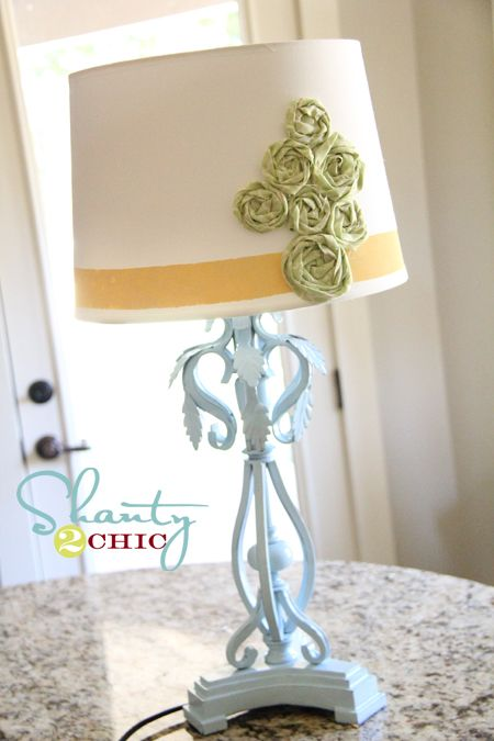 Nursery lamp, could do this with yo-yos too.I couldn't wait to try it for the nursery so I did it for my sewing lamp and used yo-yos. I may have gotten a little yo-yo happy but it's cute! I like it!