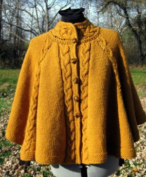 Cabled Fall Celebration Cape Knitting Pattern