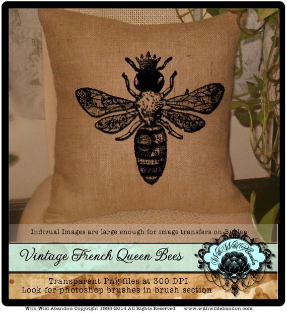 Bee Clipart Queen Vintage French By Withwildabandon