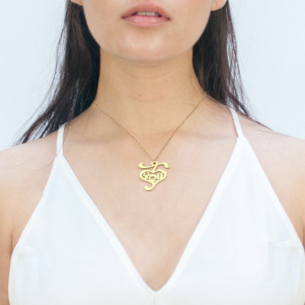 I Love you #3dprinted gold plated steel necklace from Zazzy