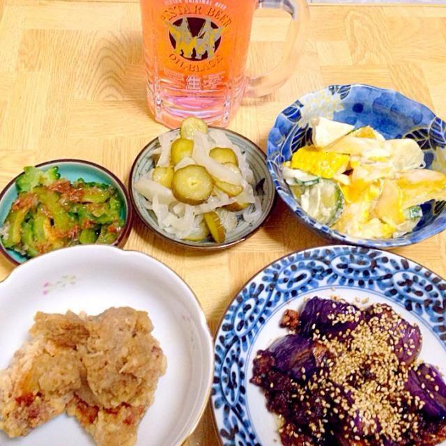 野菜中心の夕食 - 34件のもぐもぐ - 麻婆茄子・ゴーヤのおかか和え・大根と胡瓜のお新香・唐揚げのみぞれ和え・黄色いサラダをカンパリソーダで by taroumasaydyZ