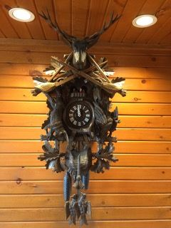 VERY IMPRESSIVE VINTAGE GUEISSAZ-JACCAARD CUCKOO CLOCK WITH A BUCK ON TOP WITH CROSSING SHOT GUNS AND HANGING ANIMALS, INCLUDING A GAME BIRD AND RABBIT. ALL ANIMALS HAVE GLASS EYES AND THE CLOCK HAS A SWISS MOVEMENT. 41H X 18W X 15D. Online Auction closing on Sunday June 11th at 5:07 PM PST #CalAuctions #CalEstateSales #SanDiegoAuctions #AuctionsinSanDiego #AuctionEvents #EstateAuctions #EstateAuction #Auction #BenefitAuction #OnlineAuction