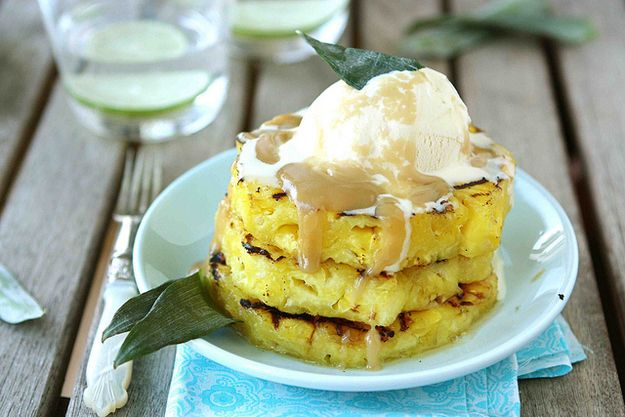 Pineapple slices with brown sugar run sauce and ice cream | 36 Things To Grill Other Than A Burger