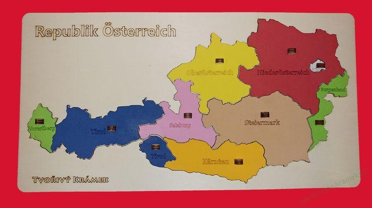 Puzzle mapa Rakouska, barevná