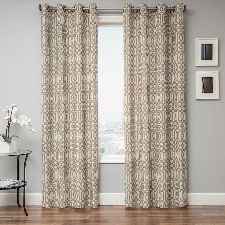 softline kaila geometric curtain lt brown