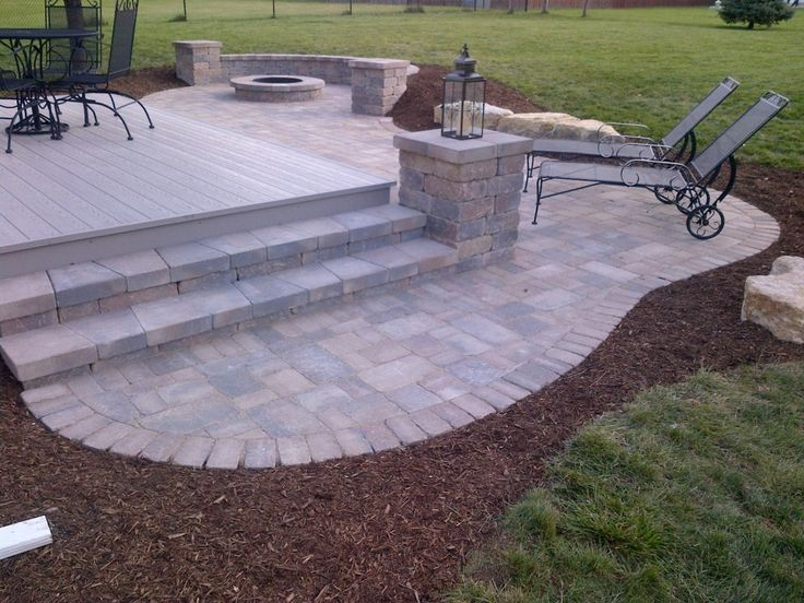 Steps seat wall and fire pit patio landscapes for Step by step fire pit