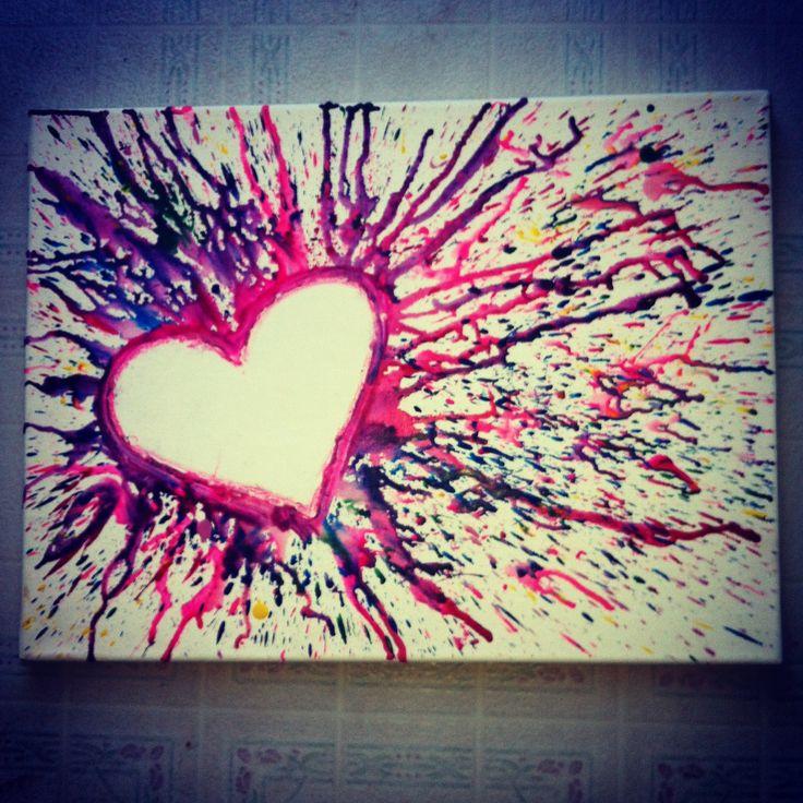 crayon artwork | Crayon art.. | Melted Crayon Art