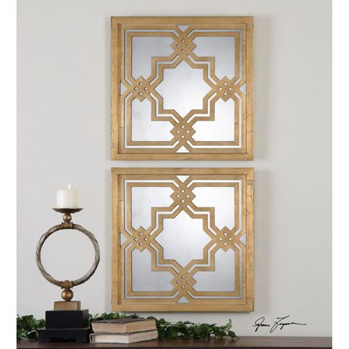 Piazzale Squares Antiqued Gold Gold Square Mirror Uttermost Square Mirrors Home Decor