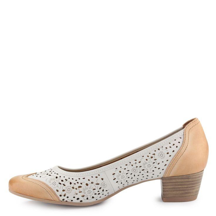 Kombinált színű Caprice női cipő | ChiX.hu cipő webáruház Kombinált színű Caprice cipő lyuggatott mintás felsőrésszel, 4 cm-es sarokkal, puha bőr felsőrésszel és béléssel. Márka: Caprice Szín: White Comb. Modellszám: 9-22302-24 199