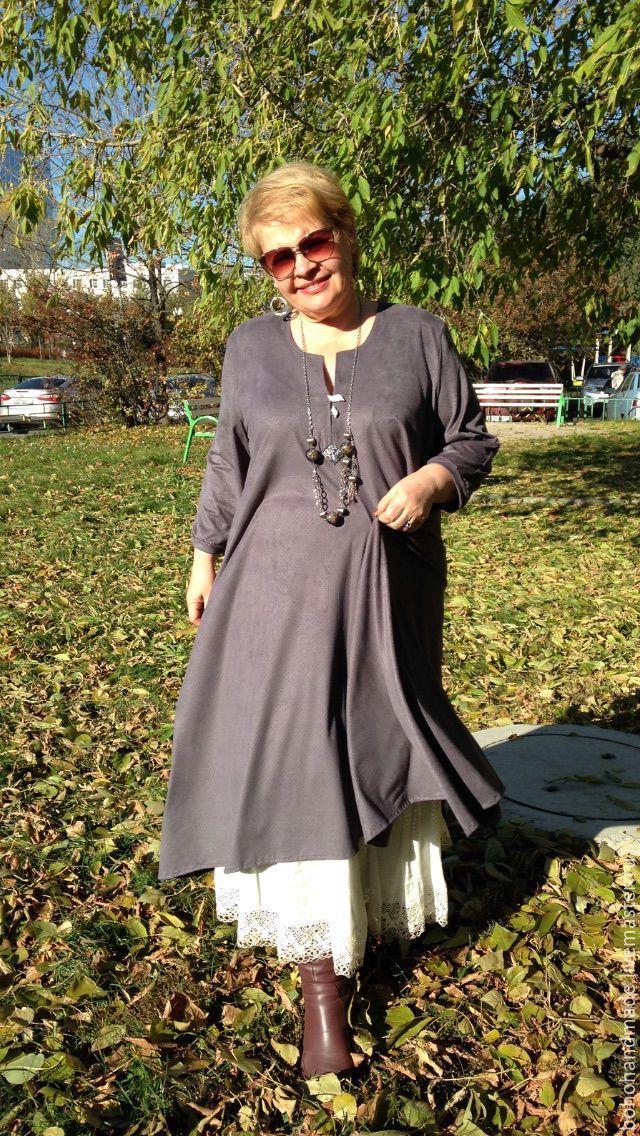Купить Платье бохо - серый, бохо, бохо-стиль, платье, для полных женщин, замша, трикотаж
