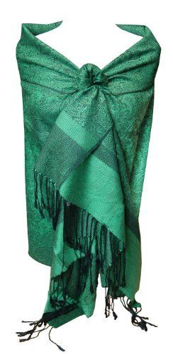 Jacquard Green and Black Pashmina Shawl Wrap Peach Couture. $9.95