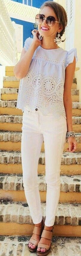 Summer/spring outfit, white jeans, Mexican top