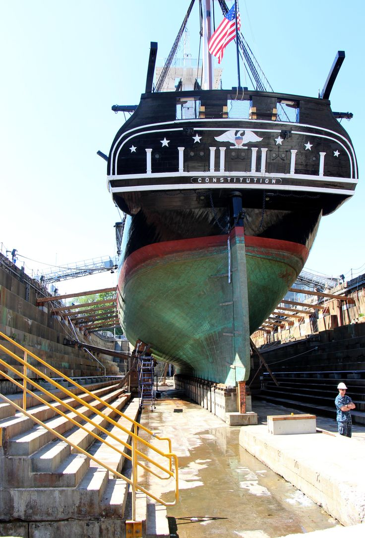 View of USS Constitution from within Dry Dock 1, May 29, 2015. [Courtesy USS Constitution Museum ...