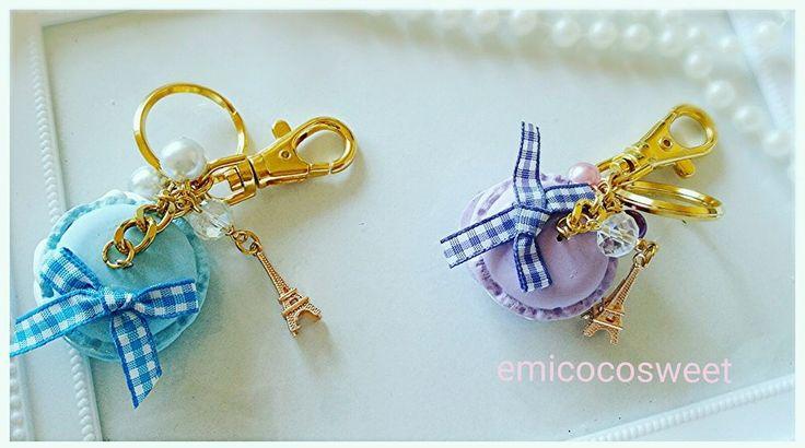 Handmade Macaroon keychain, Macarons bag charm,kawaii keychain,Cute bag charm