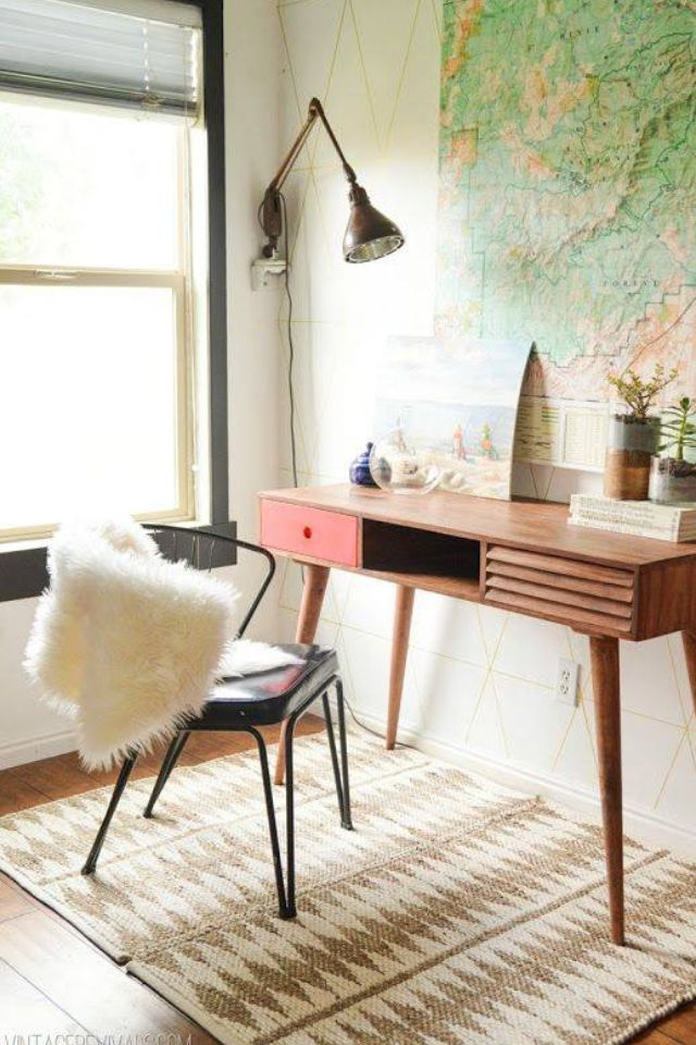 Vintage modern home office in the living