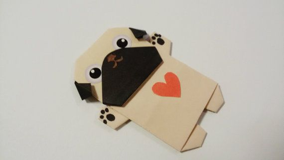Pug magnet Origami Paper Pug Valentine gift Origami by JollyCards
