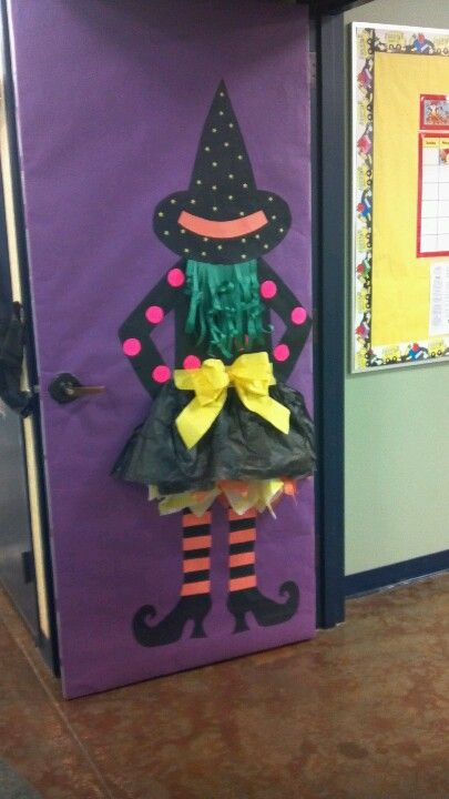though i would never decorate my door with a witch i like the idea of school door decorationshalloween