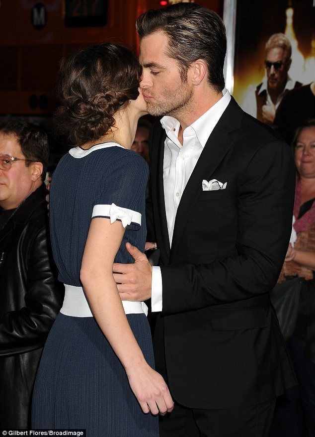 So good to see you: Chris Pine planted a kiss on Keira Knightley at the Hollywood premiere of their movie Jack Ryan: Shadow Recruit on Wedne...