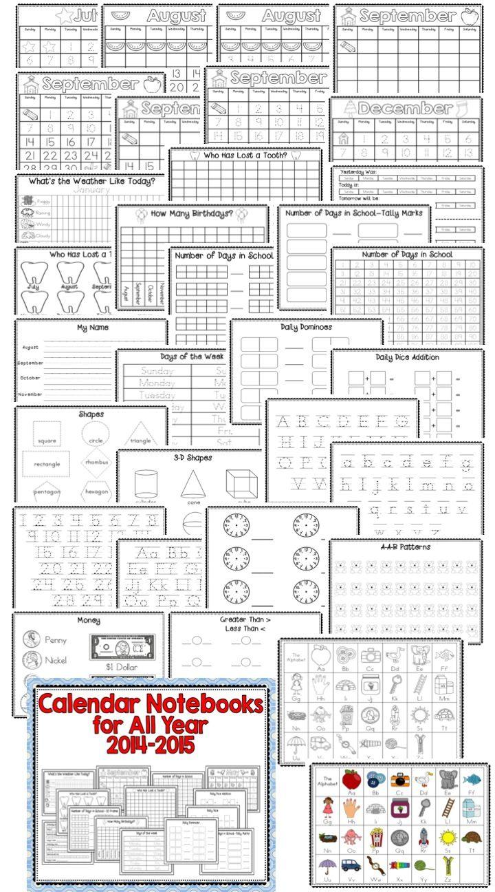 Calendar Math Binders Kindergarten : Best ideas about calendar notebook on pinterest free